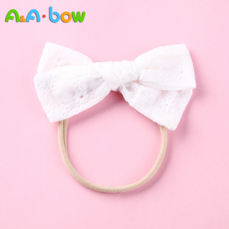 1pcs White Lace Floral Bow Headbands Hairpins for Girls, Elastic Nylon Headband Bow Hair Clips, Baby G   Headwear   Hair Accessories