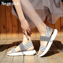 Striped Chunky Platform Wedge Women Sandals Summer Beach Open Toe Woman Sandalias Mujer Breathable Thick Sole Casual Footwear