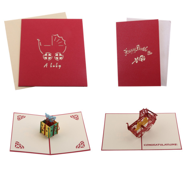 New 3D Pop Up Happy Birthday Gift Cards Paper Postcard Art Mother Day