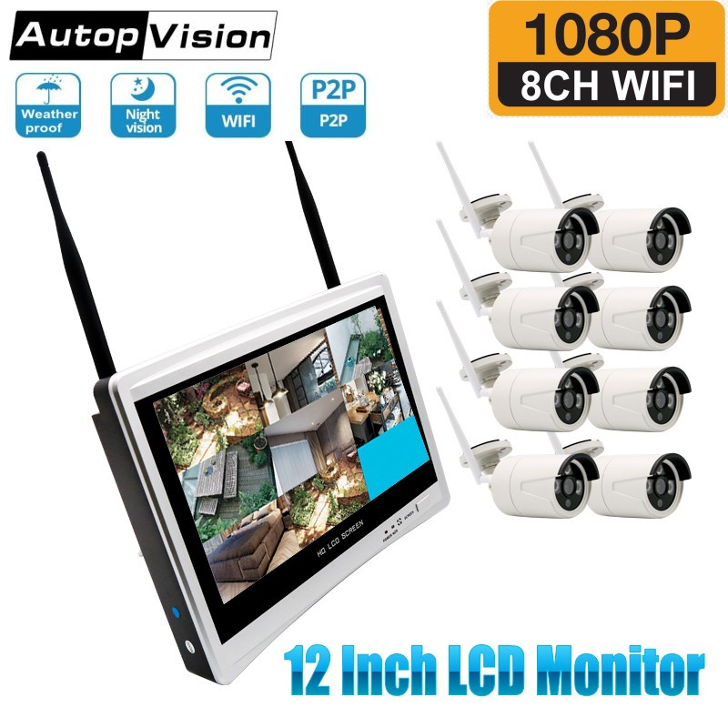 12 Inch LCD Monitor Wireless CCTV Security System Video Surveillance Kit 8CH WiFi NVR Kit P2P 1080P Wireless CCTV IP Camera Kits