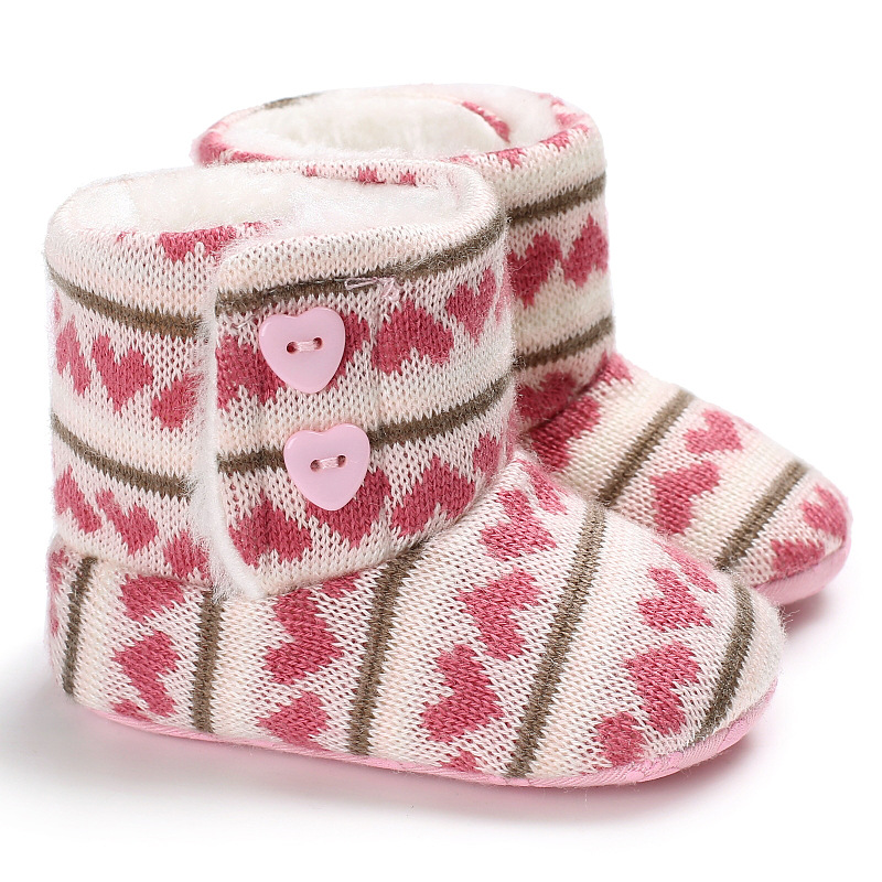 Heart Pattern Newborn Crochet Knitted Boots Winter Toddler Baby Girl Boy Wool Crib Fur Shoes Warm Booties Soft Sole Bebe Sapatos