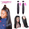 360 Lace Frontal With Bundles Brazilian Straight Hair With Closure Body Wave Bundles Human Hair 360 Lace Frontal With Baby Hair