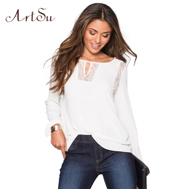 ArtSu Long Sleeve Blusas Blouse Women New Elegant Lace stitching Casual Loose Blouses Tees Autumn Chiffon Shirts Top ASTS20007