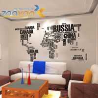 Black Letters World Map Wall Stickers Removable Decal Adesivo Adesivos Decorativos Art Mural Home Decor ZYPA