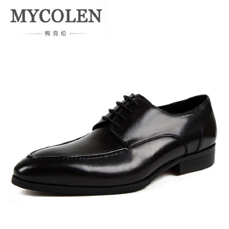 MYCOLEN Genuine Leather Mens Dress Shoes Lace-Up Business Oxford Shoes For Men Brand Wedding Derby Shoes Black schuhe herren men s shoes business dress genuine leather evening dress flat shoes brand luxry oxford men loafers wedding leather shoes