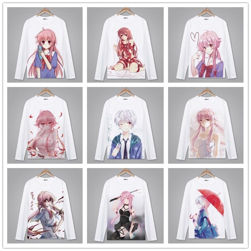 Spring Autumn Long Sleeve Anime T-Shirt Mirai Nikki Lovely Clothing Unisex Adult Child T Shirt Cosplay Harajuku Tshirt.