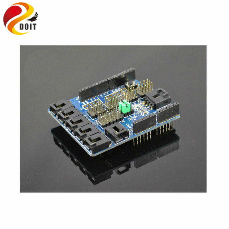 Official DOIT Electronic Sensor Shield V50 Sensor Extension Board Robot Accessory UNO R3 Raspberry PI PCduino DIY Kit RC official doit thermistor relay control module temperature sensor detection switch 5v 12v robot diy rc electronic toy robot