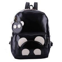 Корея мультфильм панда женщины свободного покроя мягкие кожаные рюкзаки колледжа средней школы сумки для подростка крышка Черный сумки Mochila
