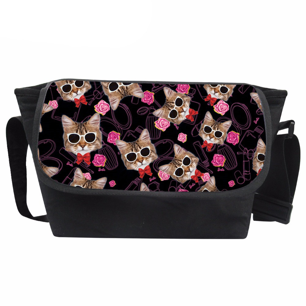 Messenger Bag Women Cartoon Cat Printing Shoulder Bags Teenagers Travel Crossbody Bag for Girls Kawaii School Bag