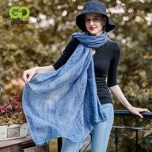GOPLUS 2019 Spring Winter Pleated tassel Scarf Women chiffon solid color luxury shawls hijab Vintage silk scarves Femme bandanna