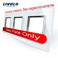 Livolo Luxury White Pearl Crystal Glass, 222mm*80mm, EU standard, Triple Glass Panel For Wall Switch&Socket,VL-C7-SR/SR/SR-11