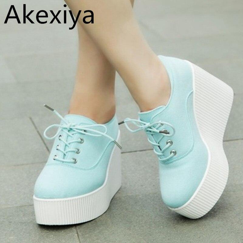 Akexiya 2017 nuevo otoño floral de la lona cuñas zapatos de plataforma zapatos c