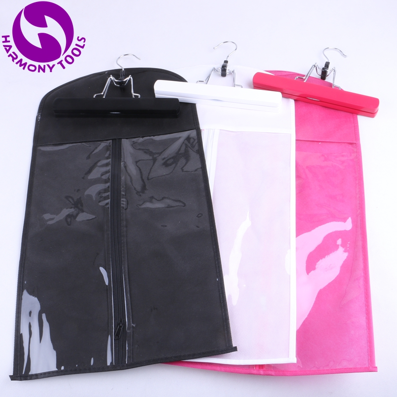 10 Sets Black,Pink or White Zipper bag Hanger for Hair Extensions Suit Case Bags Hair Packaging for Clip Weft hair and Ponytail