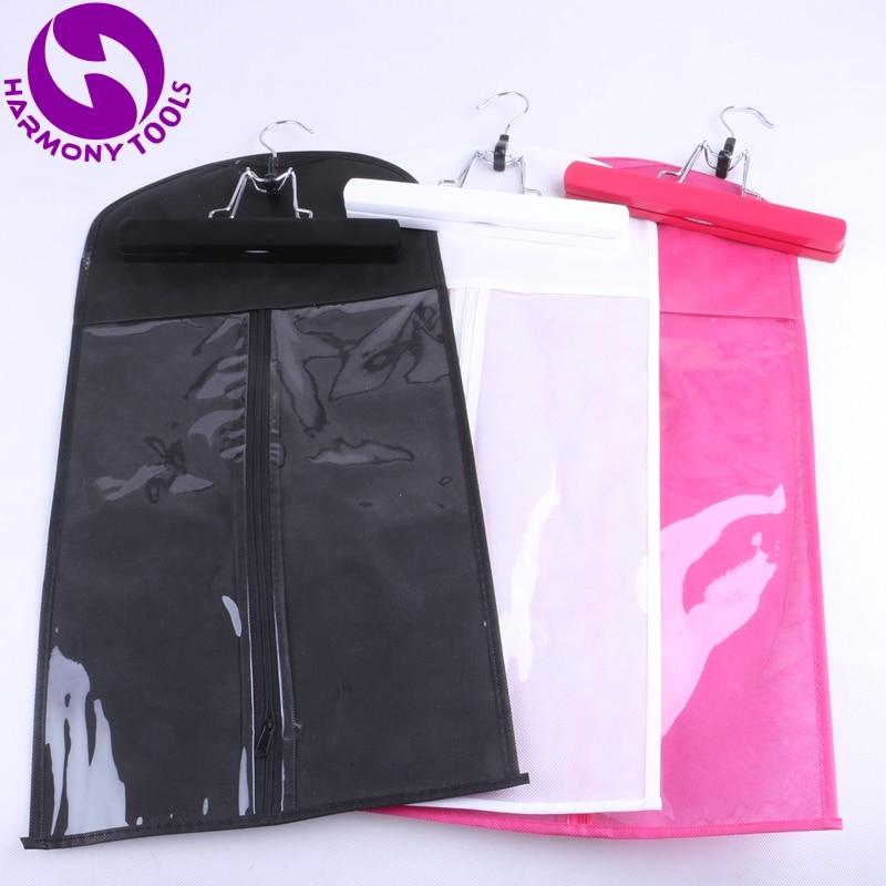 10 set beg hitam, merah jambu atau putih zipper penyangkut untuk sambungan rambut saman beg kes pembungkusan rambut untuk klip rambut dan ekor kuda