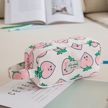 Cute Peach Leaves Canvas Large Capacity Pencil Case Stationery Storage Organizer Pen Bag Pouch Pencil Box For School Supplies недорого