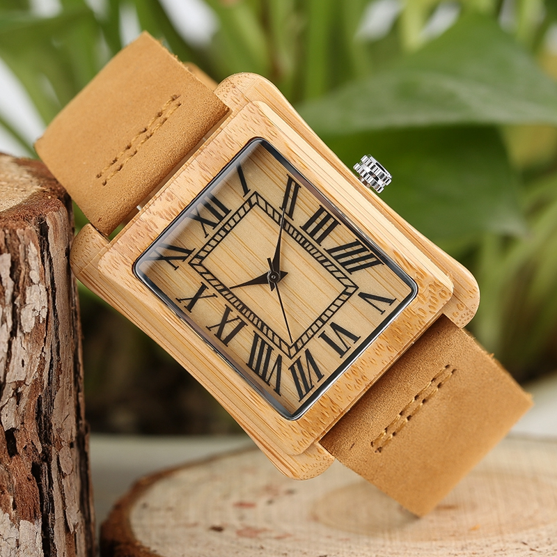 Rectangle Dial Wooden Watches for Men Natural Wood Bamboo Analog Display Genuine Leather Band Quartz Clocks Male Christmas Gifts 2020 2019 (54)