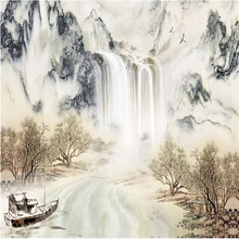 Ink wallpaper water and wealth landscape background wall professional custom mural photo