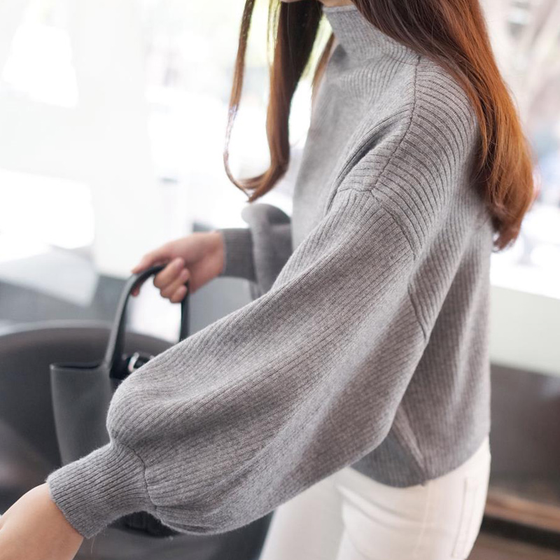 Winter Women Sweaters Fashion red white Turtleneck lantern Sleeve Pullovers Loose Knitted Sweaters Female Jumper Tops 19 7
