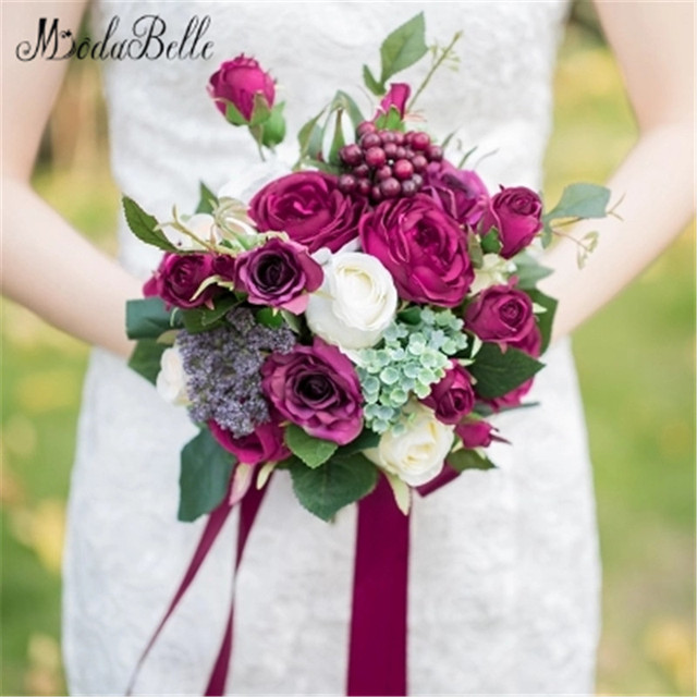 2017 Romantic Bridal Bouquets Burgundy Rose Berry Handmade Artifical ...