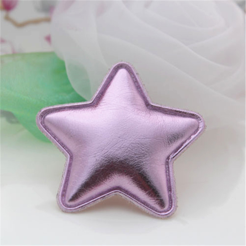 New Arrival 50PCS Glitter Pink Color Handmade Stars for Christmas Tree Decoration Princess Girls Hairband Decor Material Craft