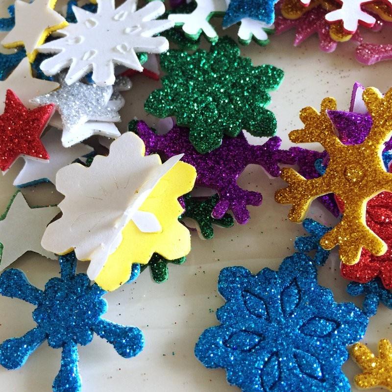 Frozen souhaits paillettes bordure Autocollants-Flocons de neige pour Cartes et Artisanat