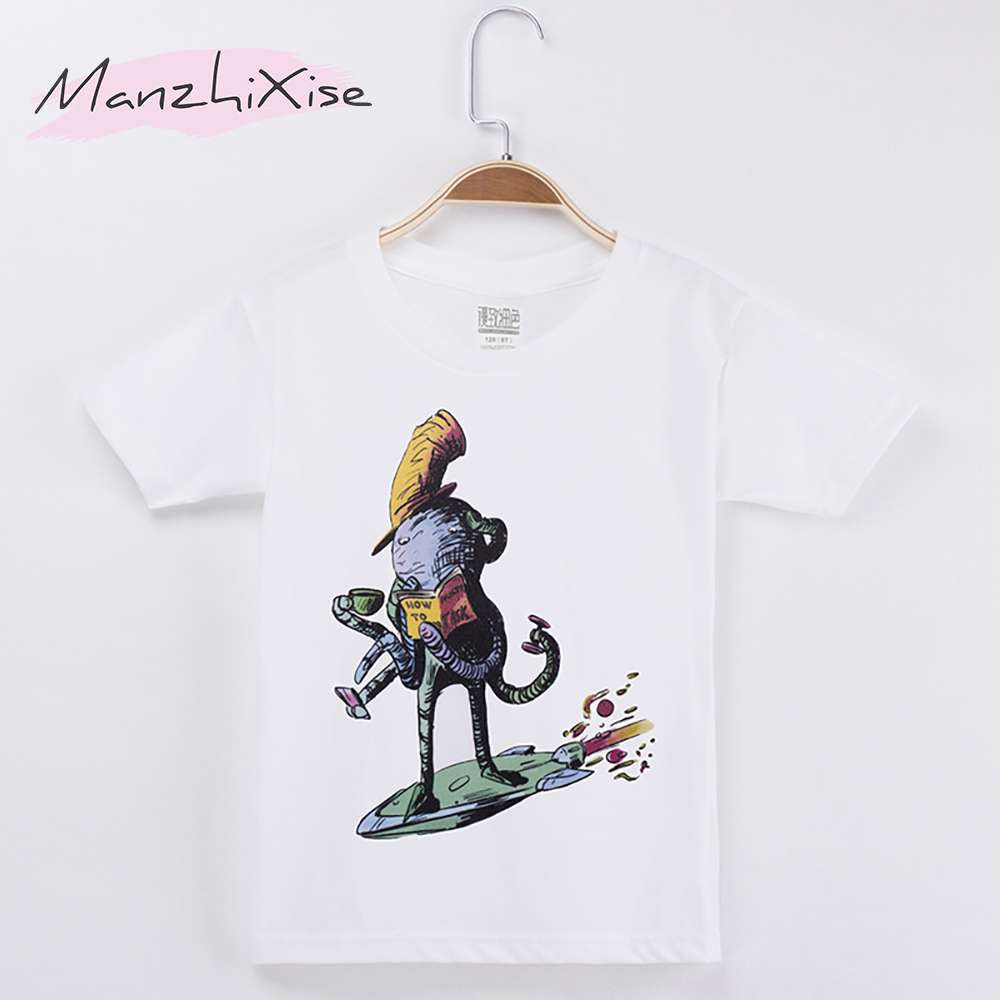 2018 Hot Sale Kids Clothes Chidren T-shirt Octopus 100% Cotton White O-Neck Boy Chid Short T Shirts Baby Girl Tops Unisex 3-12Y