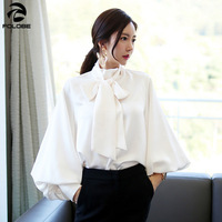 FOLOBE Lantern Sleeve Satin Shirts Blouse Women Lace up Casual Blouses Tops Female Korean Clothes Plus Size 2019 Spring