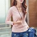 Tshirt longo Da Luva Das Mulheres Plus Size Coreano Roupas Breve Com Decote Em V sólido Magro Ocasional Tops Outono Novas Chegadas Senhoras Camiseta Femme