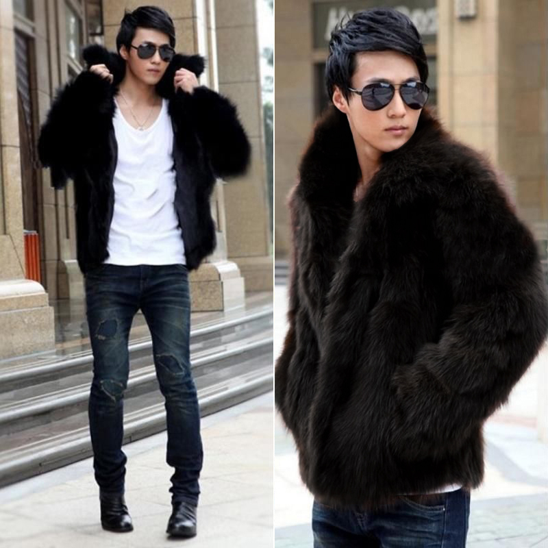 0cbfafb0d 2015 Fashion Mens Bomber Faux Fur Jacket With Fur Collar Solid Men's Fur  Clothing Winter Black Fur Chaqueta Hombre Outwear Drop-in Faux Leather Coats  from ...
