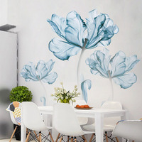 New 110 180 Cm Large 3D Blue Flower Living Room Decoration Vinyl Wall Stickers DIY Modern