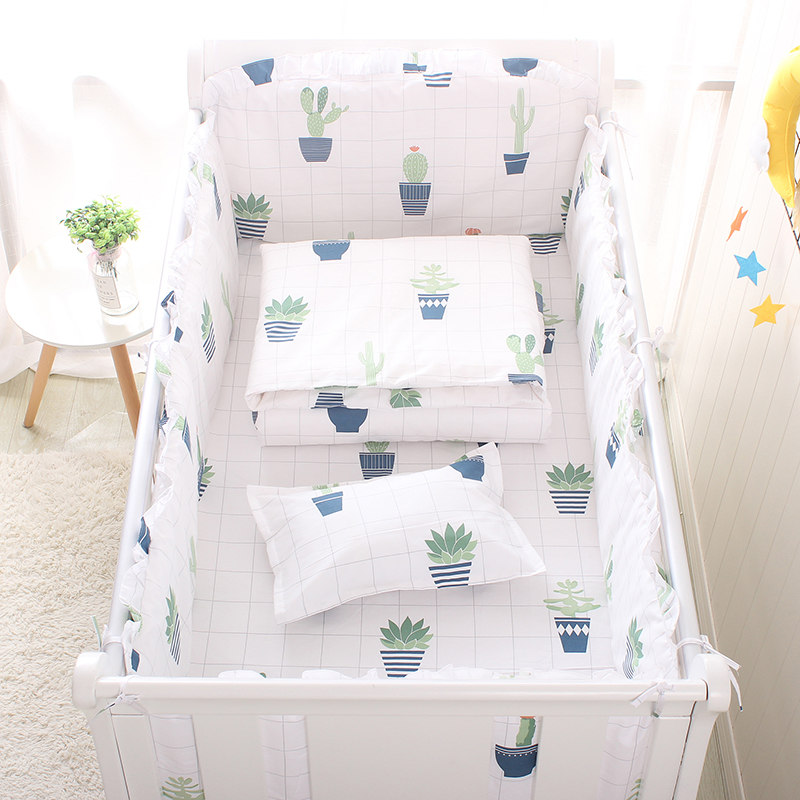 4 pcs /<font><b>set</b></font> Cute <font><b>Baby</b></font> <font><b>Bedding</b></font> <font><b>Set</b></font> Cotton <font><b>Baby</b></font> <font><b>Bedding</b></font> <font><b>Set</b></font> Including 4pcs Bumpers Soft Bumper For Cot Crib Bumpers Four Seasons image