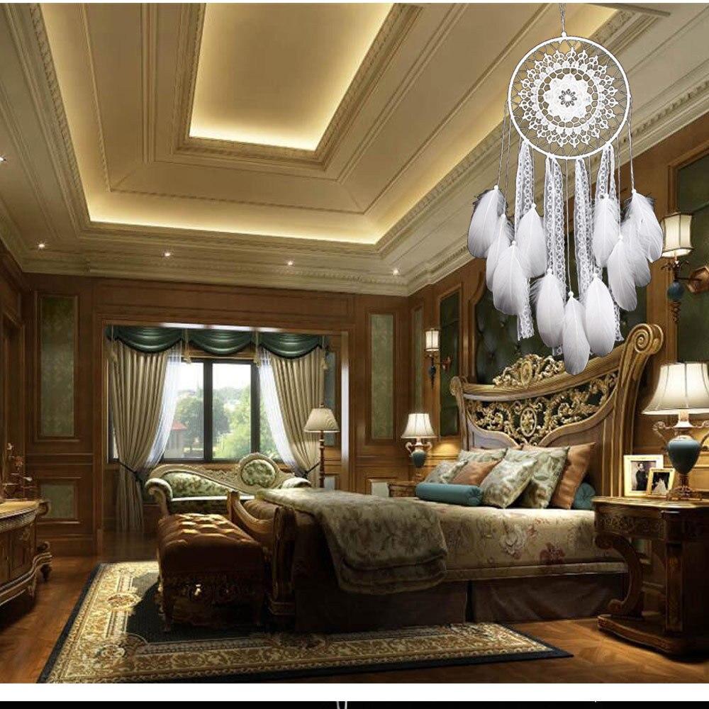 Yaratıcı Beyaz Tüy Büyük Rüya Avcısı Hint Dantel Net Dekor Ganpati
