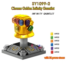Single Marvel Avengers 3 Infinity War Thanos Infinity Gauntlet SY1099-2 with 24pcs gemstones building blocks toys for children