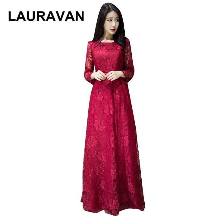 2019 new arrival women wine red royal blue elegent formal a line womens lace tops ball   prom     dress   o neck long sleeve   dresses