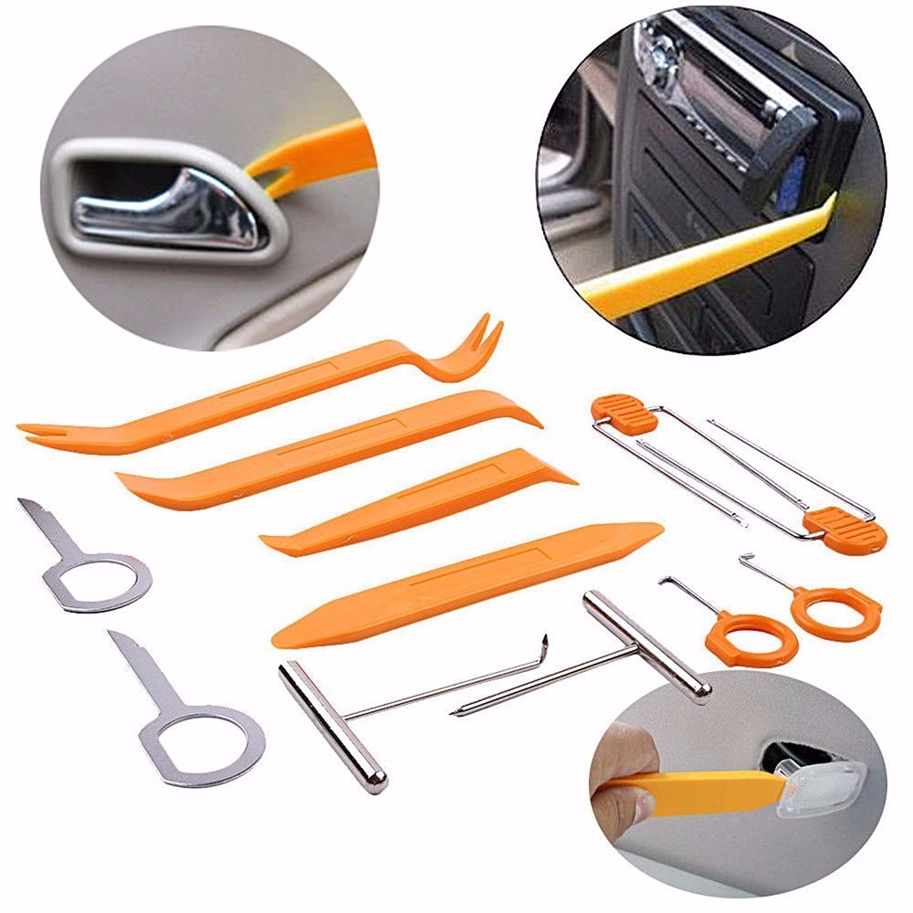 12pcs Car Stereo Installation Kits Car Radio Removal Tool Car Radio Panel Door Clip Panel Trim