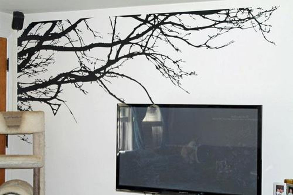 Delightful Wall Stickers Black Tree Mural Wall Sticker Home Decor Tree Top Branches  100 Part 32
