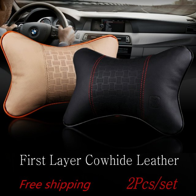 Free shipping For Buick For Opel / 2pcs/set Car pillow supplies / A pair of leather headrest / The classic black leather pillow