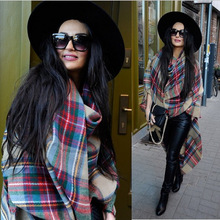 2014 Winter Women Scarves Large Tartan Scarf Pashmina Warp Shawl Acrylic Black Checked Hot sale