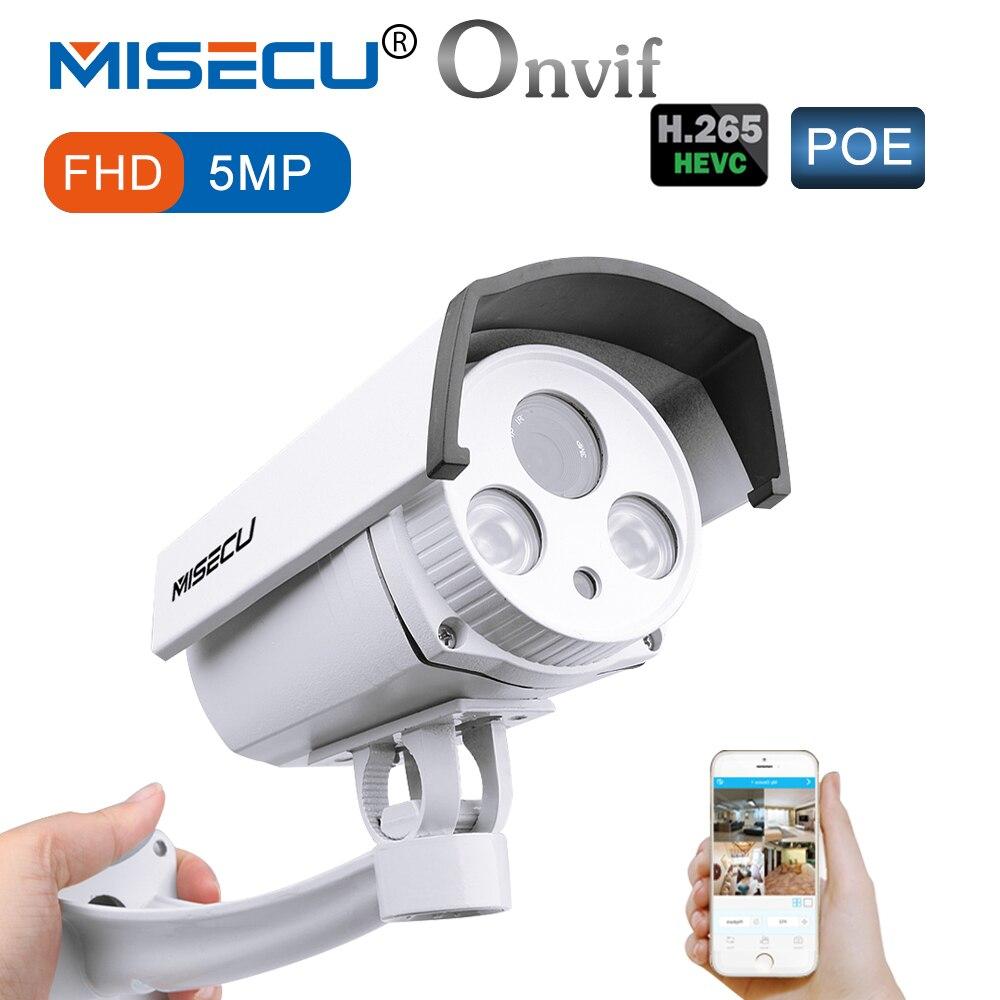 MISECU H.265 безопасности POE IP Камера 5MP металлический корпус WDR массив светодио дный Ночное Видение движения RTSP металл открытый Камеры скрытого в...
