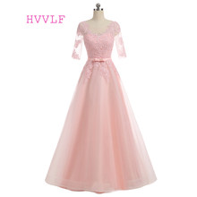Pink Evening Dresses 2019 A-line Floor Length Half Sleeves Tulle Lace Appliques Elegant Long Evening Gown Prom Dress Prom Gown(China)