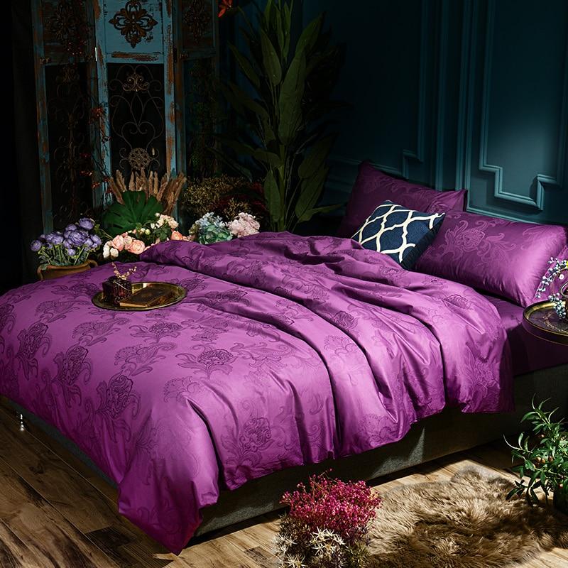 Cotton Silk Jacquard Grey Pink Purple Bedding Set Queen King size Luxury Bed set Bedsheet set Duvet/Quilt cover set PillowcaseCotton Silk Jacquard Grey Pink Purple Bedding Set Queen King size Luxury Bed set Bedsheet set Duvet/Quilt cover set Pillowcase