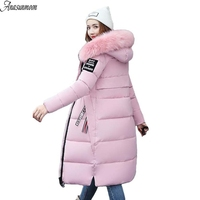 Grande Gola De Pele de Inverno Parka Mulheres 2017 Novo Casaco de Inverno Mulheres jaqueta Longo Fino Espessamento Wadded Jaqueta Quente Casacos Femininos preto