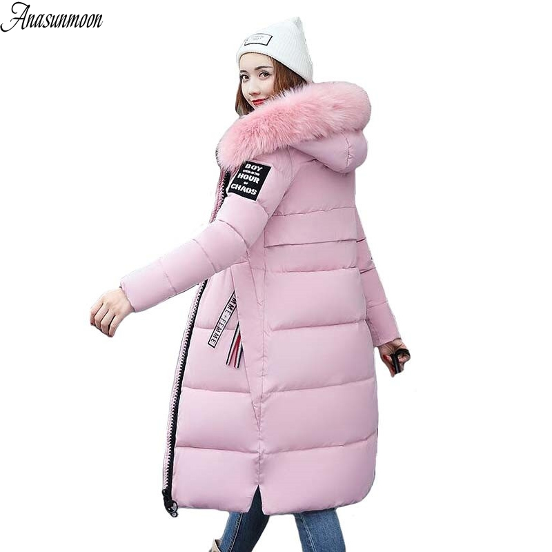 Large Fur Collar Winter Parka Women 2017 New Winter Coat Jacket Women Long Slim Thickening Warm Wadded Jacket Female Coats Black high quality winter coats women long down coat 2016 new fashion women s winter jacket large fur collar parka female jackets y750