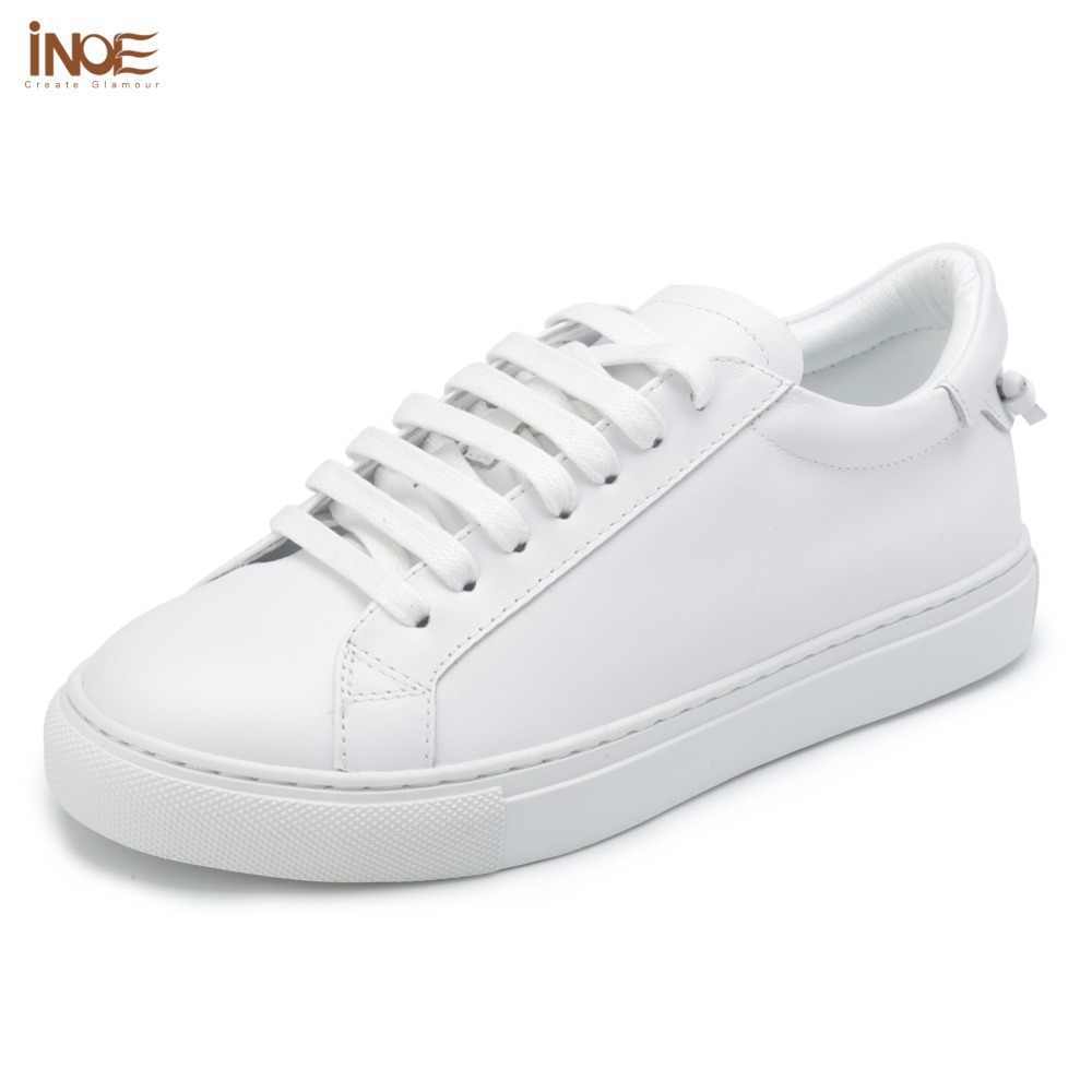 INOE fashion style genuine cow leather casual spring autumn sneakers  wedding shoes for women flats leisure afe838f46927