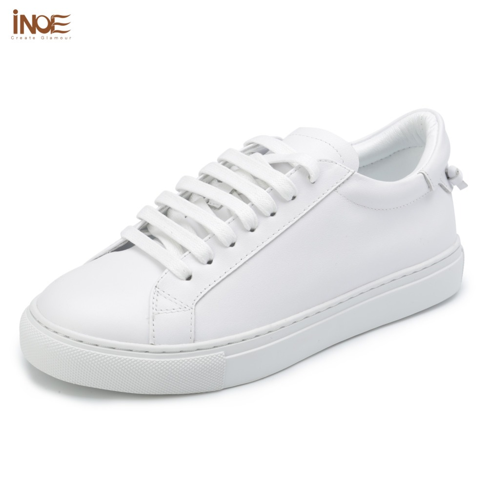 INOE fashion style genuine cow leather casual spring autumn sneakers wedding shoes for women flats leisure shoes white green redINOE fashion style genuine cow leather casual spring autumn sneakers wedding shoes for women flats leisure shoes white green red
