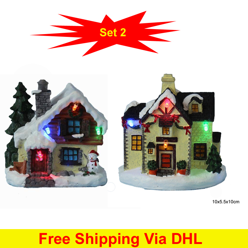 4 led paper mache polyresin small christmas vil