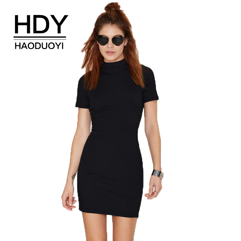 HAODUOYI HDY 2018 Blcak Sexy Turtleneck Women Mini Dress Cut Back Short Sleeve Bodycon Dress Summer Halter Tight Dress For Lady