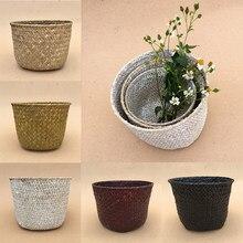 Cesta de armazenamento dobrável p/m/l, cestas dobráveis para lavanderia, decoração, plantas, vasos, sala, jardim, feita à mão