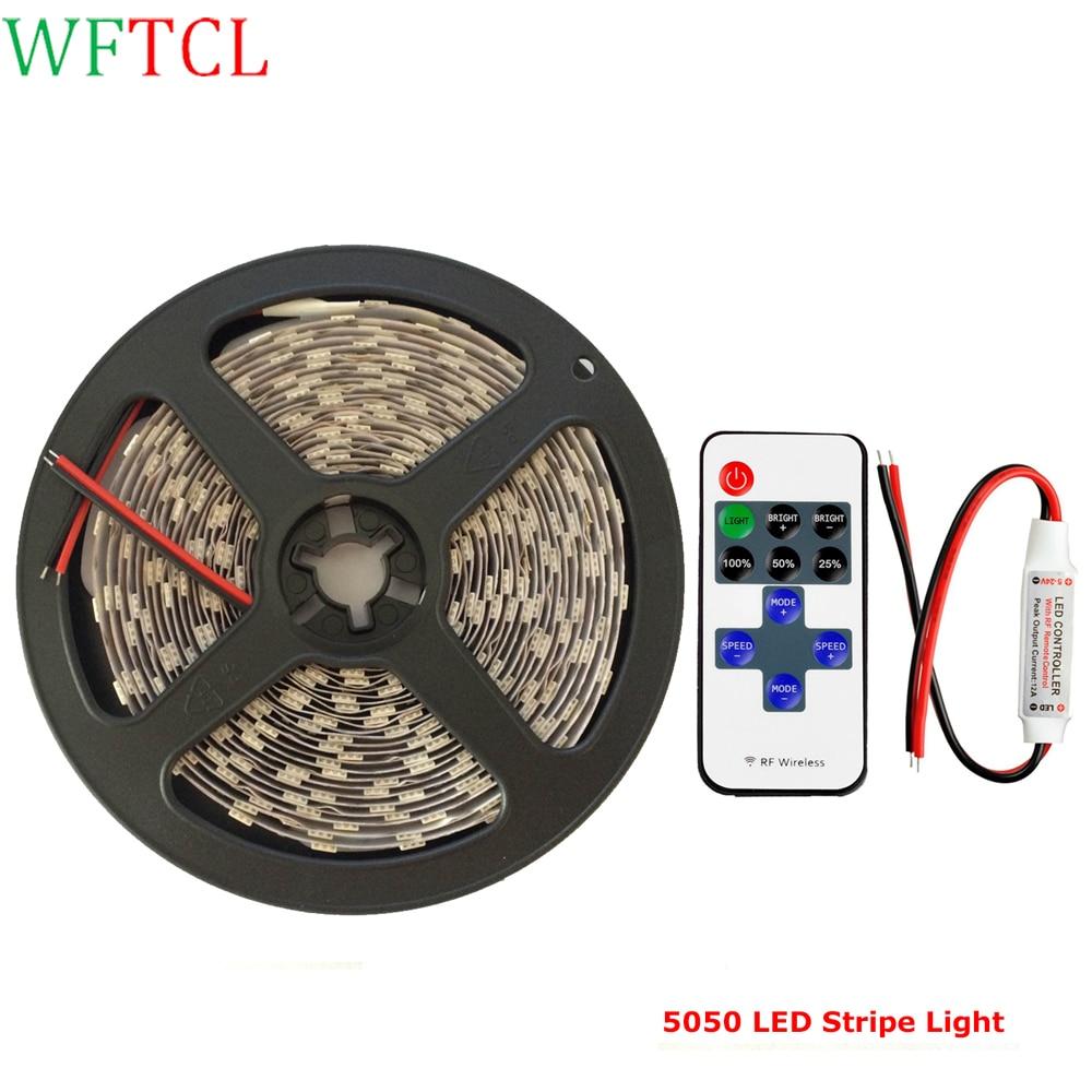 BSTLED 5050 LED Light Strips 12 Volt 5 Meters 300LEDs Double PCB LED Tape Light with 11-Key LED Dimmer for DIY christmas lights