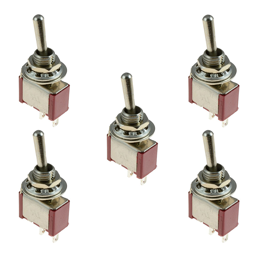 5 x On/Off Small Toggle Switch Miniature SPST 6mm - AC250V 3A 120V 5A 4 10pcs 250v 15a kn1322 toggle switch 6 pins touch on off switches mini small switch controlling the circuits of ac or dc